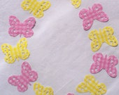 Hand Punched Die Cut Butterflies Large Pink and Yellow Plaid
