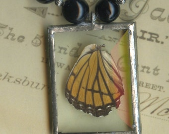Viceroy Butterfly Necklace with Black Onyx Beads