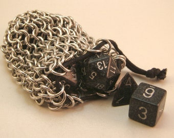 Chainmaille Aluminum Drawstring Dice Bag, Dice Pouch Large Rings