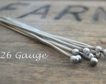 "10 2"" Fine Silver 26 GAUGE Handmade Ball Headpins - 2 inches. Oxidized and polished"