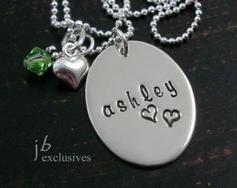Hand stamped jewelry - personalized - mommy necklace - 1 baby name disc and birthstone - gifts for moms, sisters, friends
