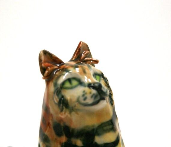 cat figurine - Garden tiger - porcelain figurine