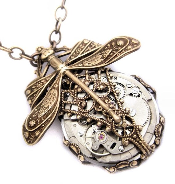 Mechanical Steampunk necklace steampunk dragonfly by Federikas