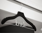 Wedding Hanger, Personalized Hanger, Custom Hanger, Bride Hanger, Name Hanger, Bridal Gift, Bridesmaid Gift, Black Wood