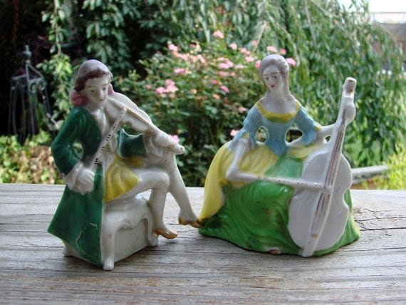 Vintage Made in Japan Colonial Man and Woman Figurines Playing Instruments