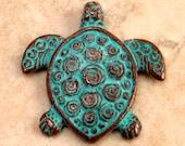 Turtle Pendant, Green Patina, Greek Casting M96