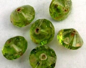 Czech Glass Saucer Beads, Peridot Green Picasso, 13x9 MM 6-Pieces C239