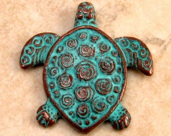 Turtle Pendant, Green Patina, Greek Casting M96