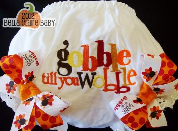 Size 2T/3T ready to ship Gobble till you Wobble Fall Thanksgiving bloomers- diaper covers
