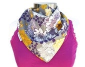 Triangle Bandana Scarf Yellow and Purple Floral