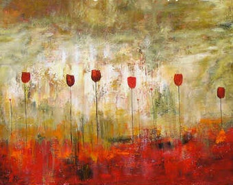 large abstract painting contemporary modern floral landscape 14  red tulips wall art