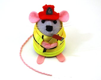 Firefighter Mouse Ornament Artisan Felt Mice cute gift for fireman animal lover collector firemouse  - Blaze the Fireman Mouse