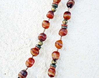SALE, Striped Carnelian & Brass Necklace