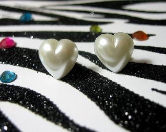 White Heart Earrings, Pearly Heart Stud Earrings