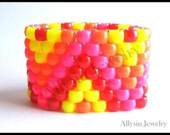 Neon ZigZag Kandi Cuff, Red, Pink, Yellow Zig Zag Pattern