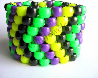 Arrow Kandi Cuff Bracelet, Neon Green, Neon Yellow, Purple, Black