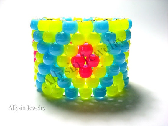 Neon Yellow Kandi Cuff Bracelet, X Pattern, Hot Pink, Baby Blue