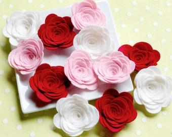 Wool Felt Rose  - Supply Set of 12 Valentine Baby