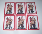 Vintage Coca Cola Playing Cards with Santa Claus and Sack of Toys with Red Border Set of 6