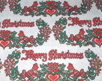 Vintage Christmas Wrapping Paper or Gift Wrap with Merry Christmas Words Hearts and Birds
