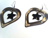 STAR BLACK HEART  smoke dangle transparent  love lovers post stud oversized earring large big  glam basketball wives enlarged size
