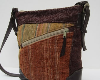 LARGE SHOULDER BAG  Fabric with Leather Eclectic Medley Satchel