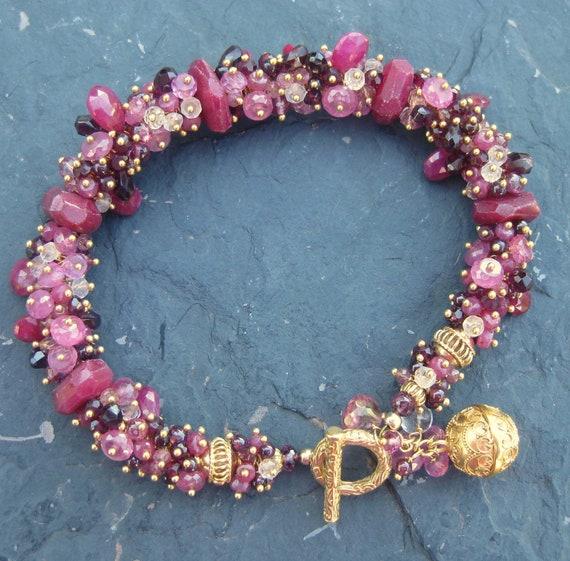 Garnet tourmaline ruby topaz bracelet RESERVED gold vermeil charm beaded gemstone jewelry --Oh, Darling--