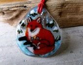 Fox necklace - mom and baby - Fused glass pendant