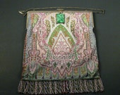 Antique Victorian Beaded Evening Bag with Sterling Frame and Carved Jade Clasp Exquisite