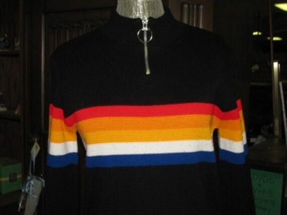 Vintage Striped Ski Sweater, Stripes, Rainbow, Glory US, Made in USA Zipper front, Size Medium