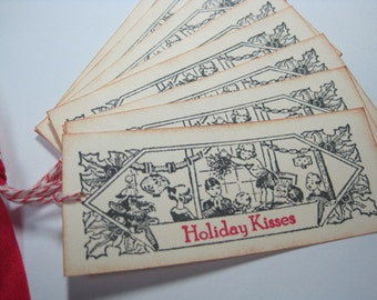 Handmade Vintage Style Christmas Gift Tags - Mistletoe and Holiday Kisses