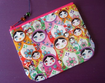 Make up pouch cosmetic bag purse in RARE european matryoshka babushka russian doll fabric