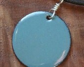 Delft Blue Copper Enamel necklace Disc Pendant with Black cord