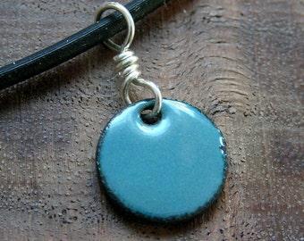 Enamel jewelry Delft Blue Copper Enamel Necklace half inch disc