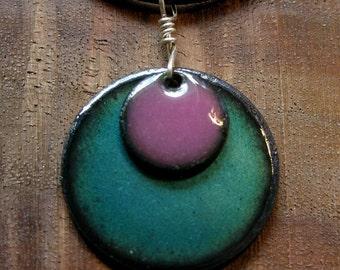 Copper Enamel Necklace Aubergine Purple and Blue Necklace Copper Enamel Pendant handmade