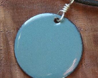 Delft Blue Copper Enamel necklace Disc Pendant with Black cord