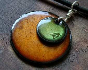 Enamel Bird Jewelry, Olive Green, Persimmon Orange Pendant, Copper Enamel Necklace, Hand Stamped Stacked Circle Jewelry