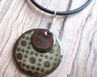 Copper Enamel Necklace Pendant Chestnut Brown and Olive Green