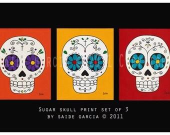Day of the Dead set of 3 sugar skulls Original Art prints 5x7