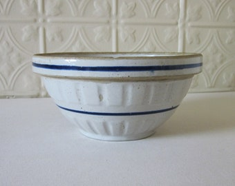Stoneware Red Wing Bowl with Blue Band Pottery Crock