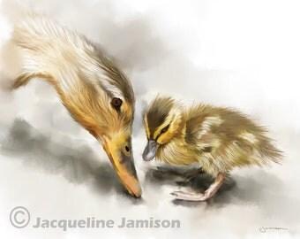 Original Art, ACEO, Ducks, Duckling