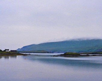 Irish Landscape, Ireland Photography, Art Print, Silver Light Blue Photo, Metallic Paper Wall Decor Irish Decor Seascape Photo Kerry Evening