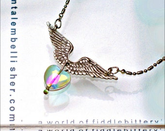 Tiny Rainbow Heart Necklace - Silver Wings
