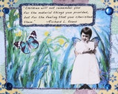 Handmade Altered Art Greeting Card, 3d, Size 5x7, Blank Inside, Children will not remember...