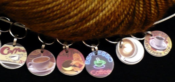 CAFFEINATE your KNITTING or CROCHET - set of 6 stitchmarkers