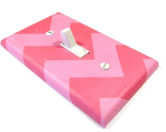 Shades of Pink Chevron Light Switch Cover Pink Chevron Nursery Decor Decoration Switchplate Switch Plate