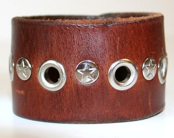 Recycled Brown Leather Cuff with Nickel Star Rivets OOAK