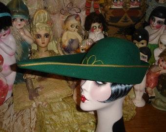 Vintage Theatre Shakespearean Felt Costume Hat Emerald Green