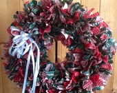 Rag Wreath. Full 15 inches...beautiful made to order..you choose the colors.