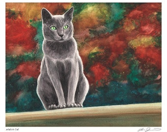 The Watch Cat - Gray Cat with Green Eyes Print